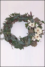 Large, Silk, Magnolia, Hydrangea & Fruit Wreath