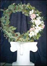 Large Silk Magnolia, Rose & Fruit Wreath