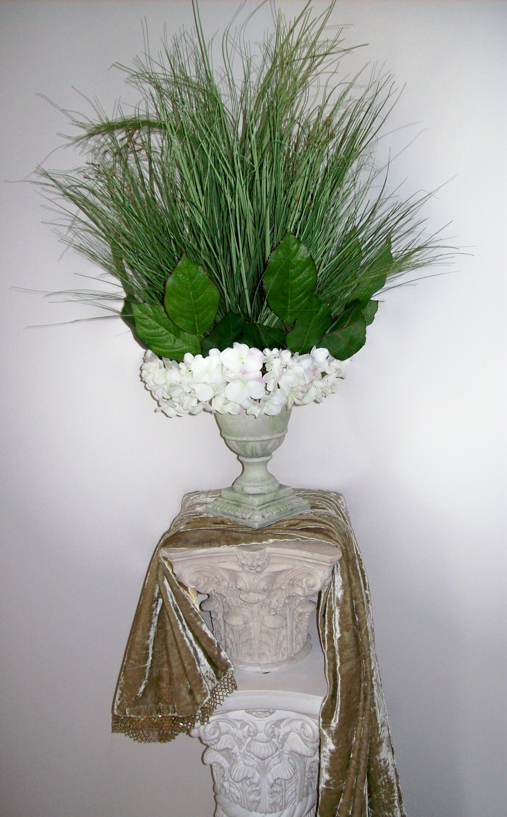 Sophisticated Summer Grasses and Clustered Hydrangea Tiered Centerpiece
